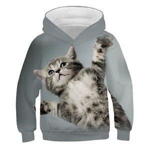 Fashion Cute Cat Kitten Hoodie Kids Sweatshirt Cartoon Anime Cats Kitty Girls Boys Hoodies Casual Children's Clothes Streetwear F1202