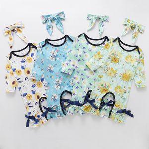 kids clothes girls Floral print romper newborn infant ruffle flower Jumpsuits 2021 Spring Autumn Boutique baby Climbing clothes Z2074