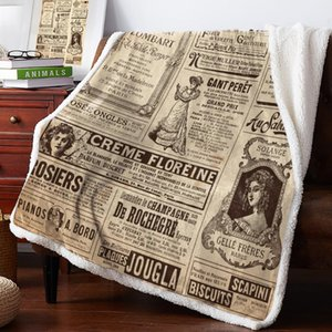 Newspaper English Letters Retro Throw Blanket Bedspread Coverlet Soft Warm Fleece Blanket Christmas Decor Blankets for Beds
