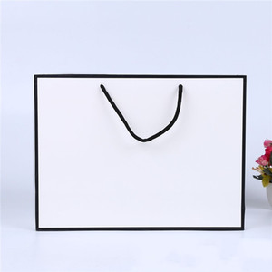 White Card Kraft Paper Bag Thicken Clothing Gift Shopping Packaging Pouch Garment Gift Paper Bag with Handles DHF3568