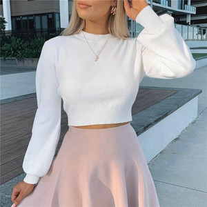 Fashion High Waist Lantern Sleeve Women's Cropped Tops Autumn Winter Casual Pullover High Street Style Knitted Tshirts 2020