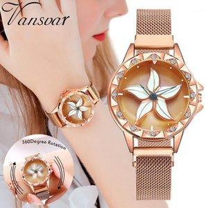 Rose Gold Femmes Magnét Magnet Montres Mode Fleurs Élégantes Mesdames Montres Montres Femme Magnetic Watch Horloge Gift1