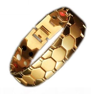 In stock!!Cross-border e-commerce stainless steel gold energy health bracelet, titanium steel titanium quantum germanium stone wide version