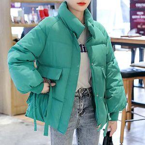 2020 winter jacket women solid turtleneck thicken loose parka coat fashion long sleeve casual winter clothing women outwear new