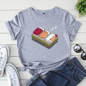 Plus Size 100% Cotton Women T shirts S 5XL Cute Sushi Cartoon Printed European T Shirt Short Sleeve O Neck Female Top