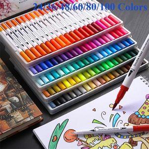 24 48 60 80 100 Colors Dual Head Sketch Markers Brush 0.4mm Fineliner Watercolor Art Marker Dual Tip Marker Pen 201128