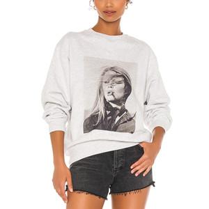 100%Cotton Gray White France Vintage Characters Print Sweatshirts Women 2020 Autumn Fashion Pullovers Plus Size Hoodies Women LJ201120