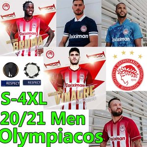 4xl personalizar greece olympiacos f.c camisas de futebol 2020 2021 El Arabi Koka Fortounis Pepe Camara Maillots Homens Kits Futebol Shirts Uniformes
