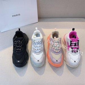 Высококачественные тройки вскользь папа обувь мужчины женщин платформы туфли черные розовые белые модные кроссовки Triple-S хрустальная подошва обувь