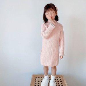 Ropa para niños Otoño Invierno 2020 Woolen DRS Coreano y Thread Prenditación Espesado Suéter Largo de Cuello Alto Cuello