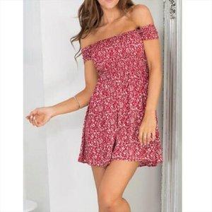 Vestido de mujer nuevo verano Sexy sin hombros manga corta polka dot vestido de mujer ajustado estilo corto fiesta playa ve