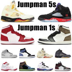 2020 Air Retro PSG 5s 1s zapatos de para hombre V OG 1 psg x pares Blanco Negro rojo gamuza azul espacio atascos zapatillas de deporte de diseño zapatillas