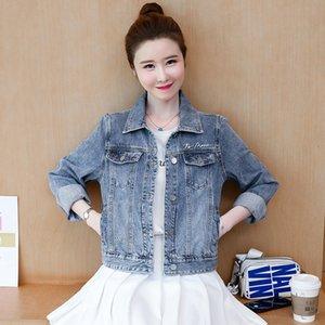 S M L XL new autumn 2020 women jeans jacket long sleeve blue cotton denim casual letter flower embroidery