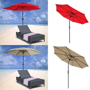 9FT 8Ribs Aluminum Patio Umbrella Market Sun Shade Steel Tilt W  Crank Outdoor