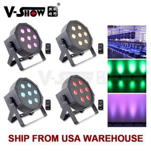 V-show 4 stücke Fernbedienung LED MINI PAR LIGHT Flache LED Par 7 * 10W RGBW 4in1 Mega Black Par Leuchten Licht Bühnenlicht
