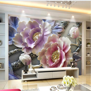 beautiful scenery wallpapers 3D peony relief background wall relief flower wallpapers decorative painting background wall