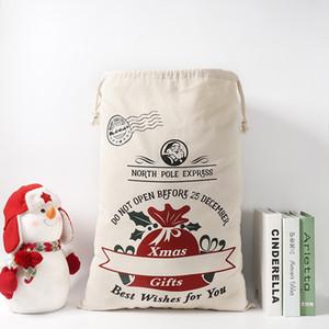 Christmas Gift Bags Cotton Canvas Bag Santa Sacks Monogrammable Santa Sack Drawstring Bag Christmas Decorations Santa Claus Deer YYB2558