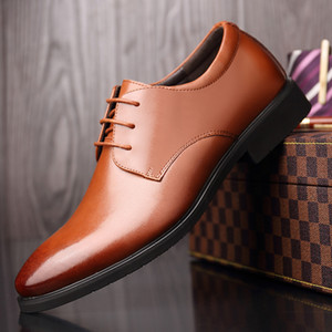 Hot Sale-Mens Spring and Autumn Shoes Mens Business Casual Formal Dress Increased Mens Leather Large Size Leather Hollow Sandals