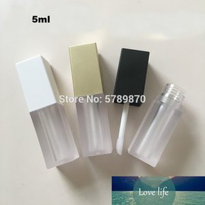 5ml Square Plastic Clear Liquid Lipstick Packing Bottle Empty White Gold Black Cap Lip gloss Matte Tubes Cosmetic Containers