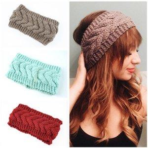 Winter keep warm Knitted Headband Women Sports Hairband Turban Yoga Head Band Hemp flowers knitting Headbands Party Favor FF460