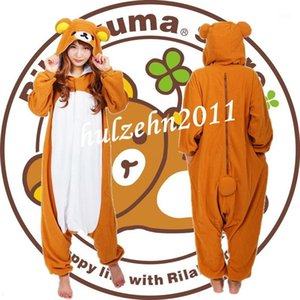 Wholesale-NEW Rilakkuma Pajamas Anime Cosplay Costume Unisex Adult Onesie Sleepwear1