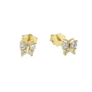 مسمار الأزياء والمجوهرات 925 فضة الفضة الفاخرة الزركون أقراط فراشة الذكية للنساء هدية