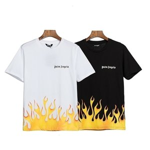 Firestar orange flame short sleeve fashion men's and women's casual round neck cotton T-shirt loose OS short sleeveGTZ938DNX92O