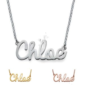 Wholesale- stainless steel Personalize Cursive name necklace Customized necklace with black bag locket necklaces chains for women