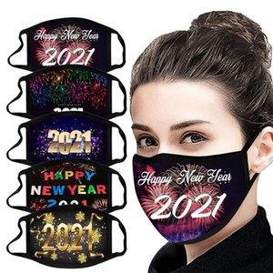 2021 Happy New Year Designer Face Mask Chrismas masques adultes Lavable Reuseable masque facial Masques en coton imprimé numérique