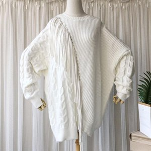 SeeBeautiful Tassel Large Size Knitted Sweater Pullovers O Neck Long Sleeve New Fashion 2020 Autumn Winter Women M368