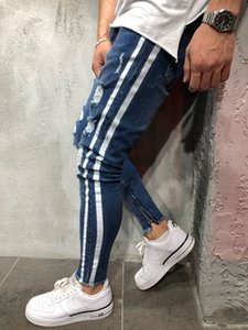 European American Popular Logo Ripped Knees Jeans Mens Vertical Stripes Patchwork Pencil Pants Casual Elastic Solid Trousers