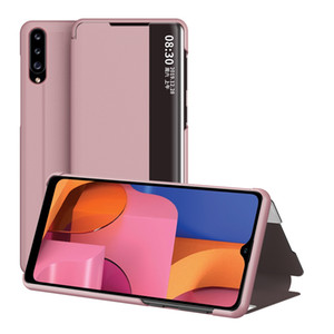 Anti Fall Smart Mirror Stand Phone Case For Samsung Galaxy A20E A70 A80 A90 A21 A41 A21S A10S A20S A51 A71 5G Leather Flip Cover