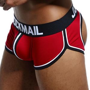 Jockmail Sexy Boxer Shorts Backless Nitocks Algodón Abierto Abrir Hombres Ropa interior Jockstraps Cuecas Gay Bragas