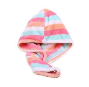Frauen Handtücher Badezimmer Mikrofaserhandtuch Bunte Streifen Hair Handtücher Für Erwachsene Trocknen Turban Wrap Hat Spa Badekappen GWC5571