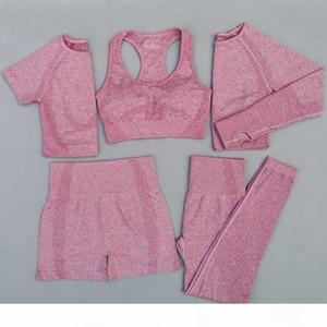 5Pcs Women Vital Seamless Yoga Set Workout Sport Wear Gym Clothing Short Long Sleeve Crop Top High Waist Leggings Sports Suit