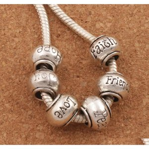 Rondelle Big Hole Beads Hope Peace Joy Friend Love Faith Mix 6Styles Tibetan Silver Fit European Bracelet Jewelry L1292-1296 Xi0Pz