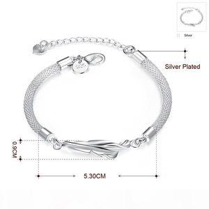 K Top Sale Feather 925 Silver Charm Bracelet 8inchs Gsb361 ,Women &#039 ;S Sterling Silver Plated Jewelry Bracelet