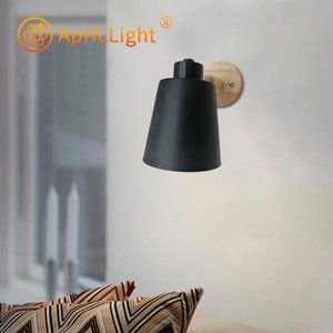 wooden wall lights bedside wall lamp sconce modern light for bedroom Nordic macaroon 6 color steering head E27 85-285V