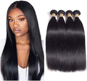10 ~ 24-дюймовые прямые синтетические наращивания волос расслоения черных цветов моделирования человеческих волос высокотемпературные волокна WEFTS FL-003