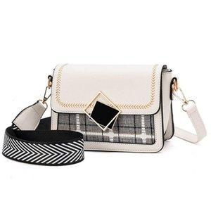 New Small Plaid Shoulder Bags For Women Fashion PU Crossbody Bag Solid Color Small Square Bag Ladies 2 Straps Handbags