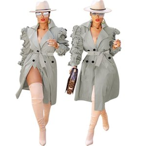 Trench Jacket Women Winter Clothes Classic Long Coat Puff Stacked Sleeve Sashes Office Ladies Streetwear Wholesale Dropshipping