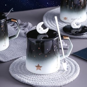 Creative star mug individual trend ceramic water cup Nordic milk coffee tea cup with lid spoon