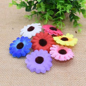 50Pcs Artificial Silk Sunflower Handmade Flower Head Wreath Gift Box Scrapbooking DIY Craft Fake Flower Home Decoration