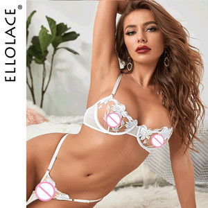 Ellolace Erotic Lingerie Set Sexy Transparent Bra Set Sex Underwear For Women Erotic Costumes Floral Embroidery Underwear Set F1218