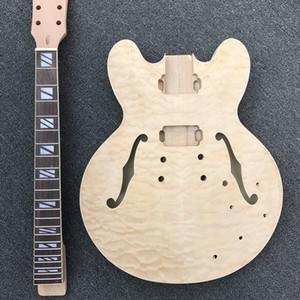 DIY E-Gitarrenset, Halbhohlkörper mit gestepptem Ahorn-Top-unfertigem Jazzgitarre-Kit mit F-Löchern, ohne Gitarrenteile, keine Farbe