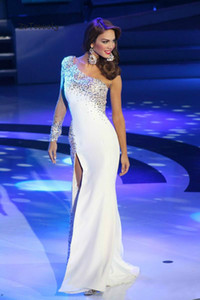 One Shoulder White Evening Dress Long Sleeves With Rhinestone Elegant Long Prom Dresses With Slits For Miss America Pageant Dress