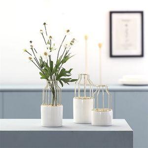 Nordic Hydroponics Vase Art Fer Art Char Cha Chaty Fleur Cadre Ferme Stand Stand Céramique Hydroponic Flower Insert Green Device LJ201208