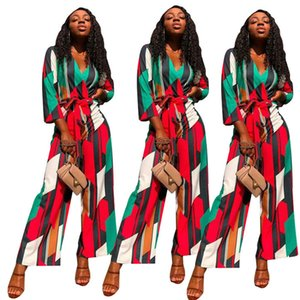 Colorfull Plaid Jumpsuits Womens Designer Loose Sexy V Neck Rompers With Sash Fashion Elegant Wide Legging Pants Women Clothing