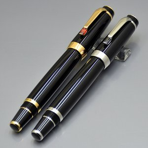 High quality Bohemies Black Resin Golden Silver Clip Classic Fountain pen 4810 Middle size 14k NIb with Diamond and Serial Number on Clip