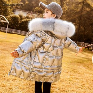 Children Winter Coat Boys Jacket With Big Fur Hooded Duck Down Long Style Fashion Shiny Snowsuit Kids Teen Girls Boys Outerwear F1201